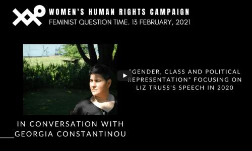 """Screenshot_2021-04-02 Georgia Constantinou - Gender, class political representation"""" focusing on Liz Truss's speech '20"""